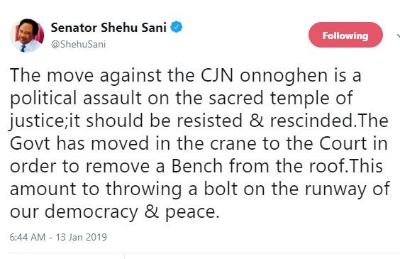 The move against the CJN Onnoghen is a political assault on the sacred temple of justice - Shehu Sani