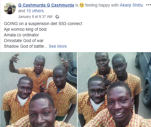 Photos: Secondary school students in Lagos all smiles as they get suspended from school