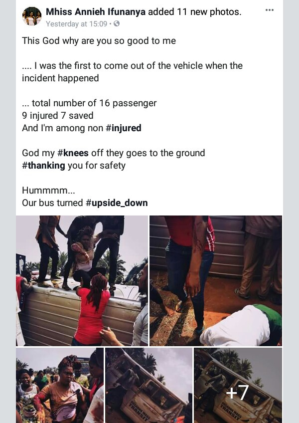 Photos: Nigerian lady overwhelmed with gratitude as she and 16 others escape death in serious accident