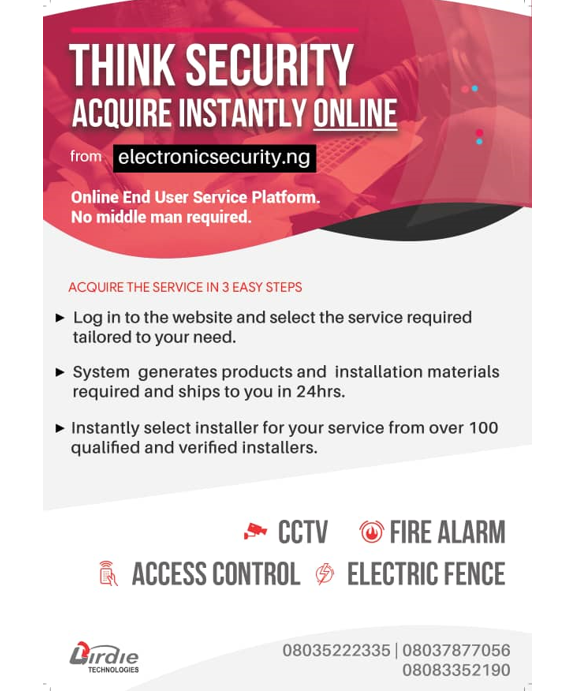 Think security aquire instantly online from www.electronicsecurity.ng