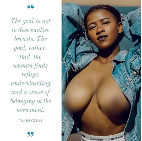 Abby Chioma, founder of the boobs movement exposes her breast in these graphic photos