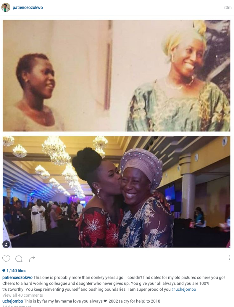 Veteran actress Patience Ozokwor shares 2002/2018 photo with Uche Jombo