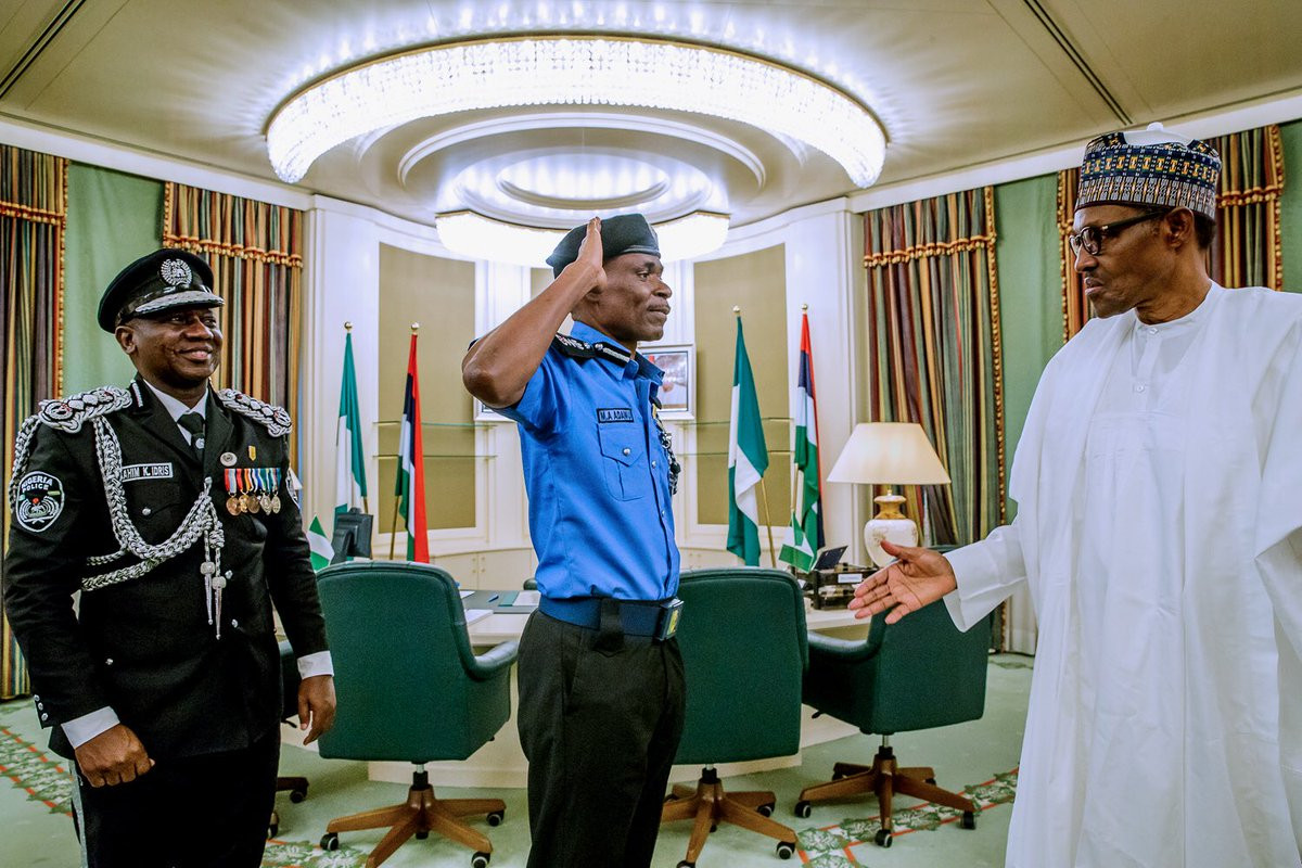 Breaking: President Buhari decorates Mohammed Adamu as the new acting Inspector General of Police (photos)
