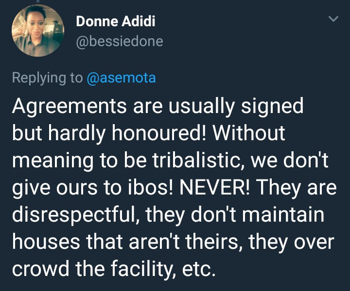Twitter user says she never rents her house to Igbo people or widows and gives reasons why