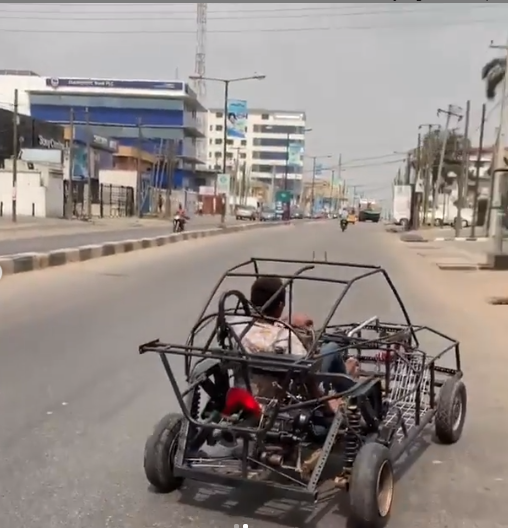 Man filmed driving a self-made car on the streets of Lagos (video)