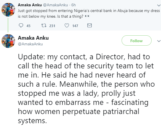 Lady in shock after she was not allowed into the Central Bank of Nigeria building because of her short dress
