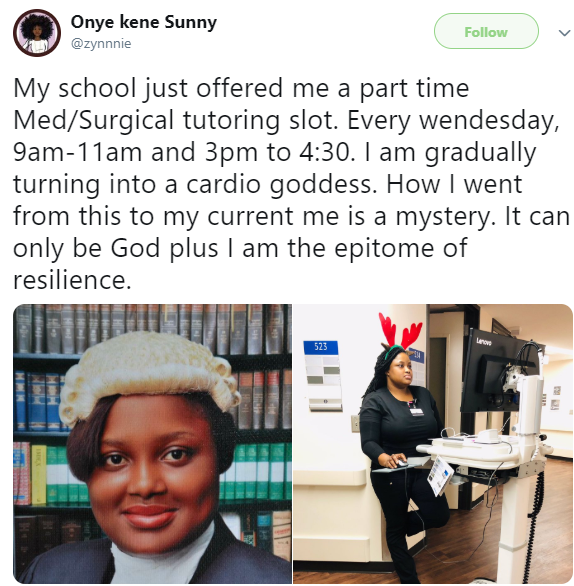 Meet the beautiful Nigerian lady who is lawyer and is now training as a medical doctor (photos)