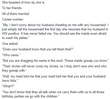 """""""Sly"""" woman who tells her maids that her husband is HIV positive to discourage them from sleeping with him gets a rude shocker"""