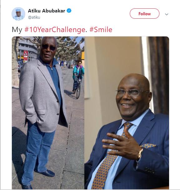 Atiku and Otedola join the #10yearschallenge