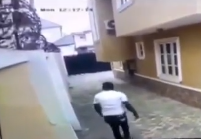 Video: CCTV footage shows moment a thief scaled fence to steal at a home in Magodo Phase 2