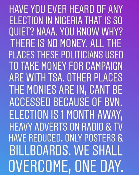 2019 election campaigns is so quiet because places politicians take money from have been blocked by TSA and BVN- Alibaba