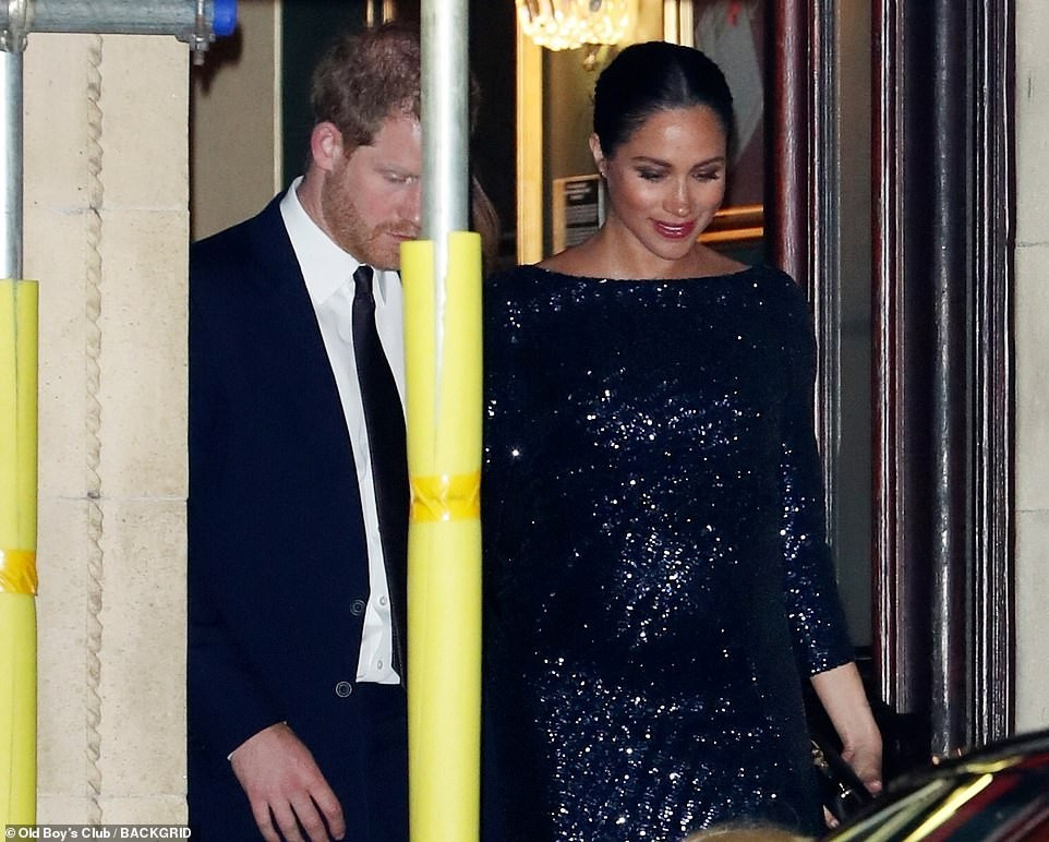 Meghan Markle sparkles in black sequins as she joins Harry for a charity performance by Cirque de Soleil at the Royal Albert Hall
