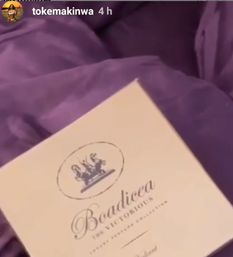 Toke Makinwa shows off the ?1000 (460k) perfume she received from a secret admirer
