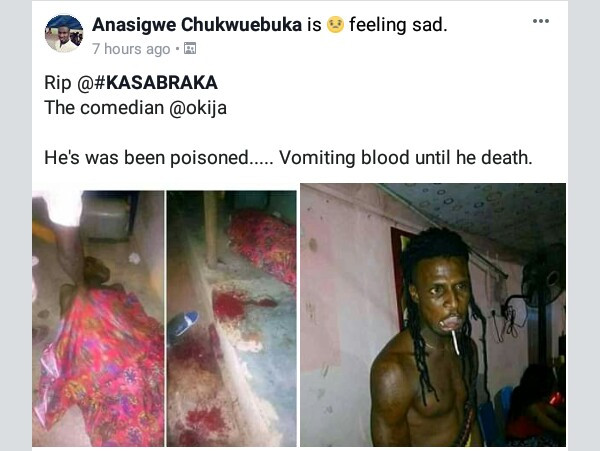 Photos: Popular comedian in Anambra allegedly poisoned to death