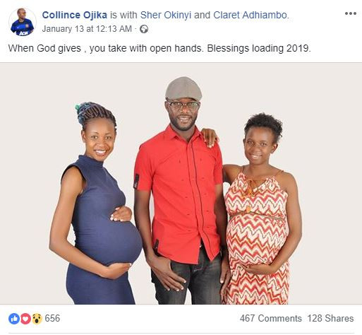 Man shares photo of his two heavily pregnant wives, thanks God for his