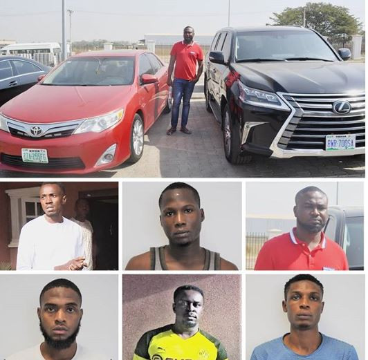 EFCC arrests six suspected Yahoo boys in Abuja, recover two Bugatti, Porshe, Benz and?N300m duplex?