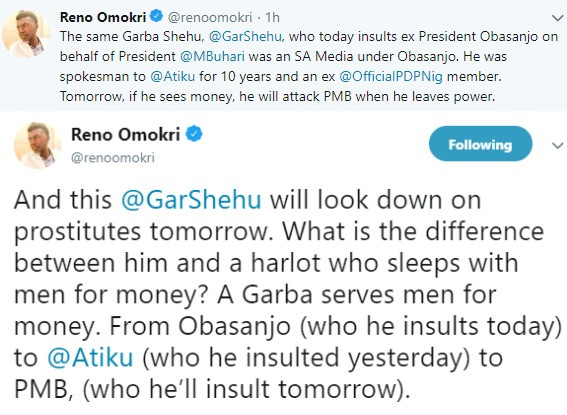 There is no difference between Garba Shehu and prostitutes that sleep with men for money- Reno Omokri