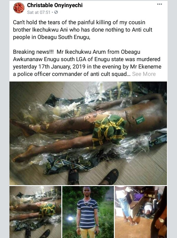 Photos: Lady accuses police anti-cult squad in Enugu of torturing her cousin to death and trying to bury the body secretly