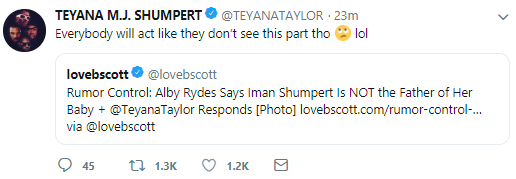 Teyana Taylor responds to rumours that her husband impregnated a woman they brought home for a threesome