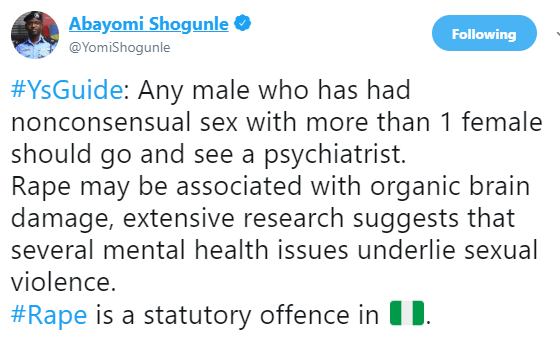 To avoid being raped, stop visiting the house of any man you have refused to date- ACP Abayomi Shogunle says