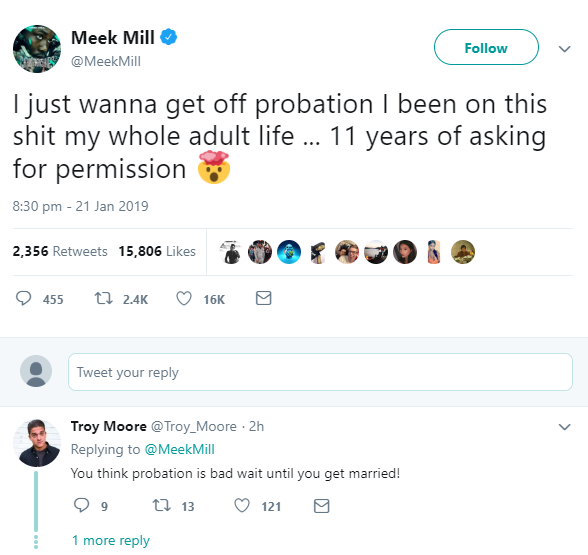 Meek Mill laments being on probation for the past 11 years of his life