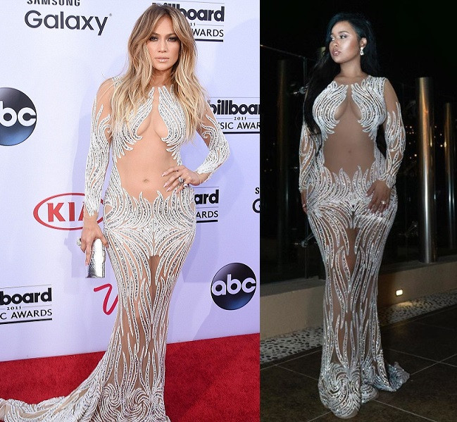 Between Jennifer Lopez and Tammy Rivera, who rocked this sheer beaded dress better?