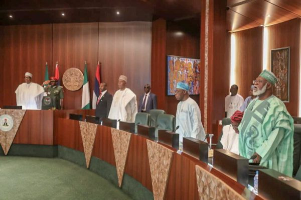 Photos: President Buhari, Obasanjo all smiles as they shake hands at Council of State meeting in Abuja today