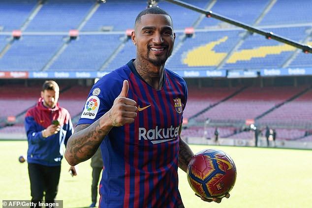 Barcelona officially unveils Kevin-Prince Boateng in front of fans, gives him Jersey No.19 (Photos)