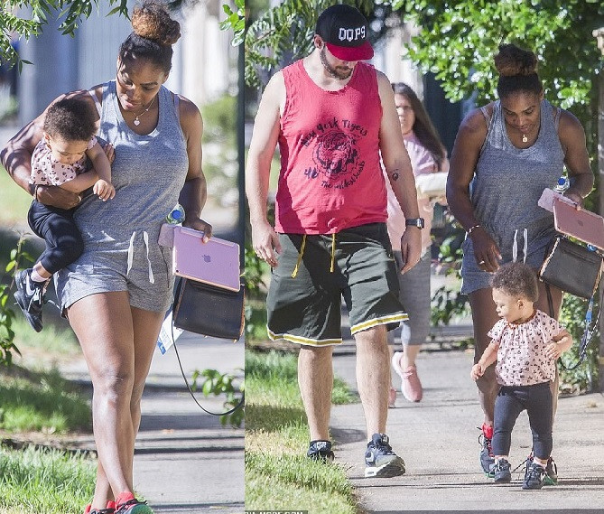Serena Williams and husband Alexis Ohanian enjoy a casual stroll with daughter Olympia in Melbourne (Photos)