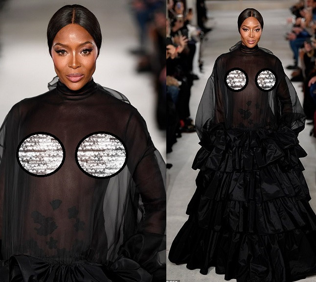 Supermodel, Naomi Campbell goes braless, flashes her nipples in a sheer dress on the runway at Valentino