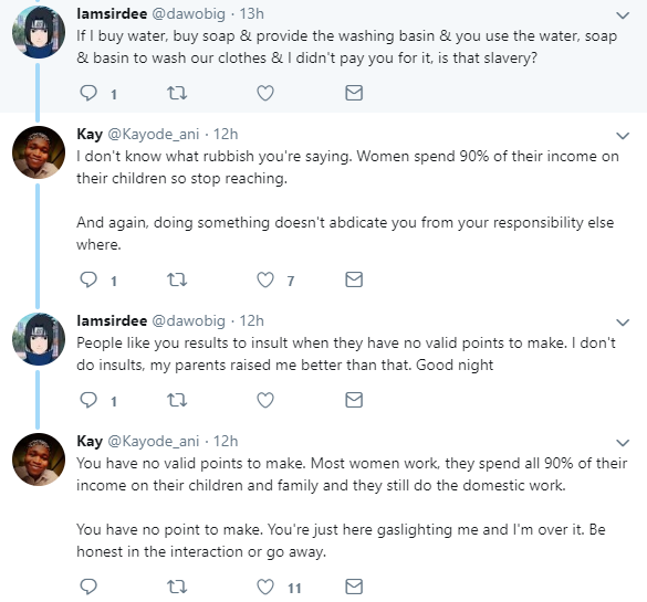 Argument ensues after male Twitter user says time women invest in domestic work is keeping them from fully investing in their careers
