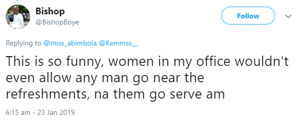 Woman narrates what her boss did after a male colleague told her it was her duty to serve refreshment to other male colleagues