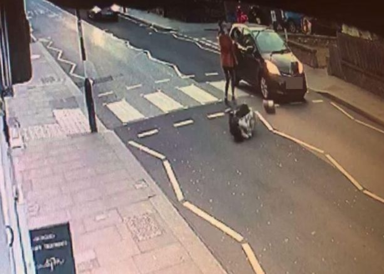 CCTV footage shows the shocking moment car hits baby in pram and sends it flying across the street but miraculously the child survives