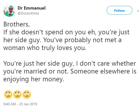If she doesn't spend on you, you are a side guy- Nigerian twitter user claims