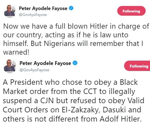 Fayose describes President Buhari as Adolf Hitler following the suspension of CJN Justice Walter Onnoghen