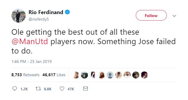 Man. U legend Rio Ferdinand blasts Jose Mourinho as the club records eight straight wins after his sacking