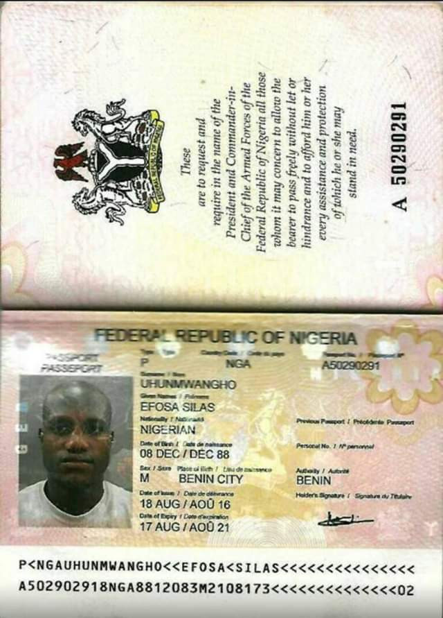Photo: Who knows the family of Nigerian man, Efosa Silas. He is fighting for life in UAE hospital