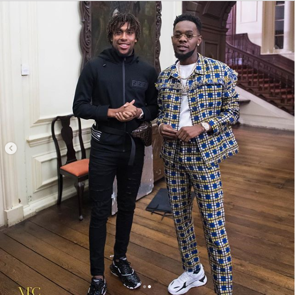 Patoranking pictured with Arsenal and Super Eagles star Alex Iwobi (Photos)