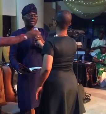 Babajide Sanwo-Olu left stunned as lady harasses him at an interactive session (video)