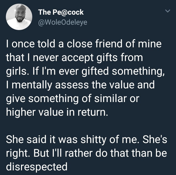 Twitter user says he never receives gifts from girls