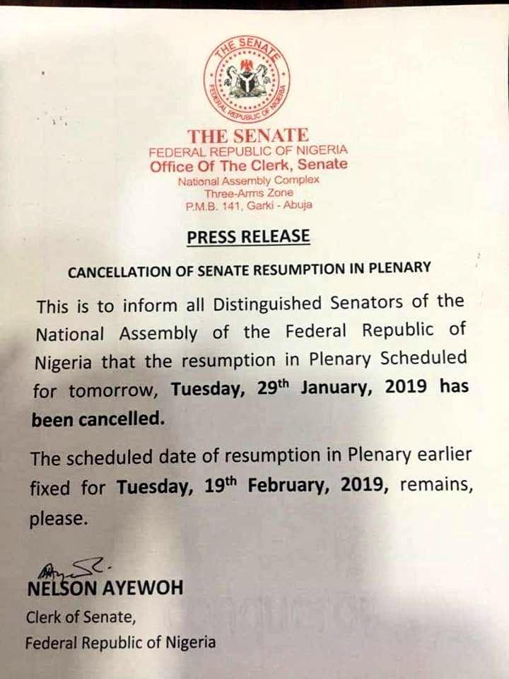 Onnoghen: Nigerian Senate cancels emergency plenary session, drags FG to Supreme court