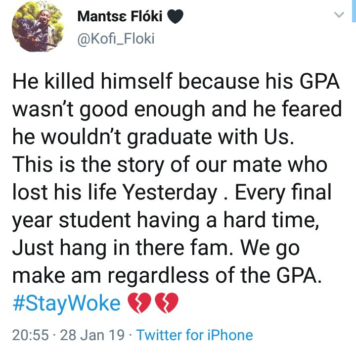 Twitter Stories: Final year student allegedly kills himself because his GPA was poor and he couldn