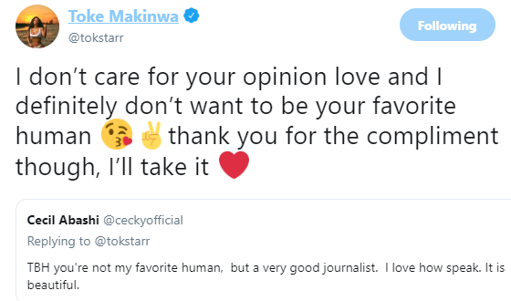 Toke Makinwa replies Twitter user who said she was not his favorite human