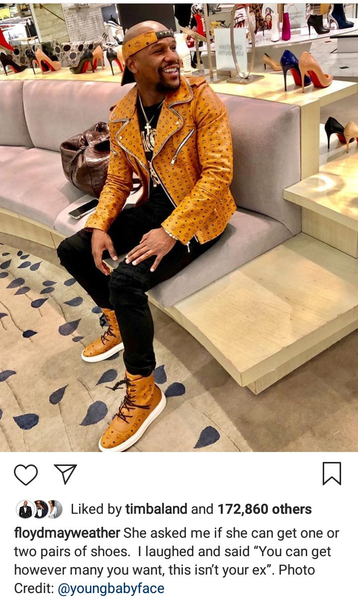 Floyd Mayweather shares photo of himself shopping women
