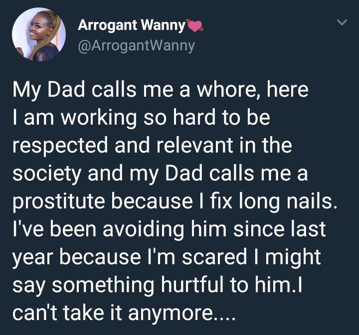 My father calls me a prostitute because I fix long nails – Twitter user