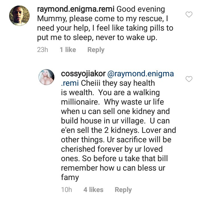 See the shocking advice Cossy Ojiakor gave to a suicidal follower