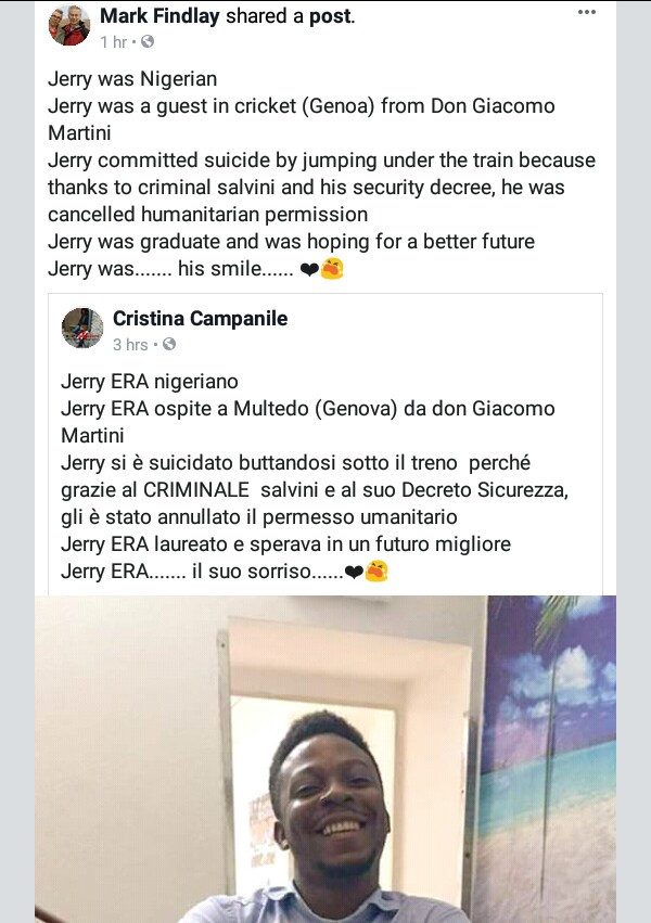 Nigerian migrant commits suicide in Italy by jumping under a train after his request for residency permit was rejected