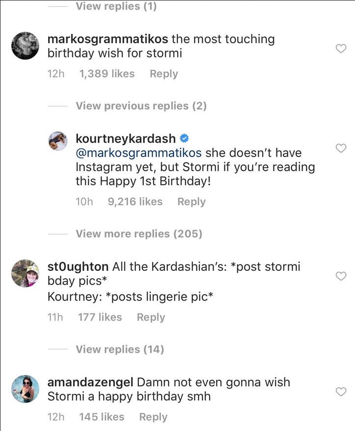 Kourtney Kardashian claps back at IG trolls who think she ignored her niece Stormi