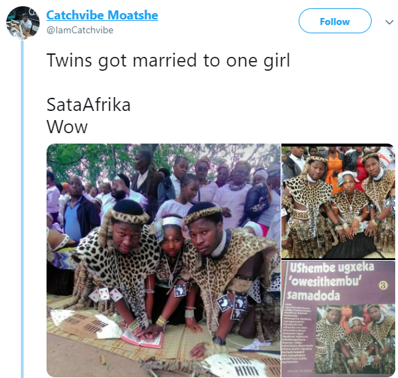 Photos: South African twins wed same lady