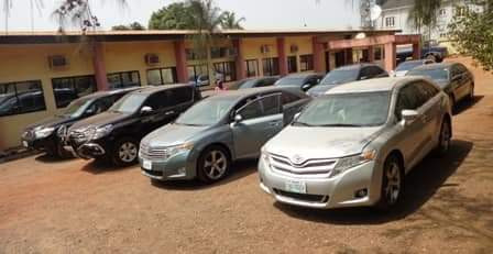 Photos: EFCC arrests 13 suspected fraudsters in Enugu, Toyota and Mercedes benz cars recovered from them